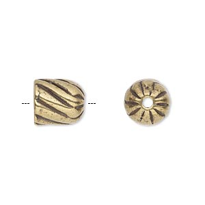 cord end, antique brass-plated pewter (tin-based alloy), 10.5x10mm corrugated twisted round tube, 7.5mm inside diameter. sold individually.