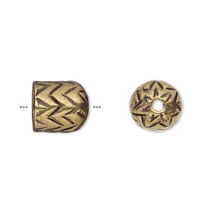 cord end, antique brass-plated pewter (tin-based alloy), 11x10mm round tube with zigzag design, 7.5mm inside diameter. sold individually.