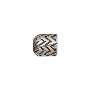 cord end, antique silver-plated pewter (tin-based alloy), 11x10mm round tube with zigzag design, 7.5mm inside diameter. sold individually.