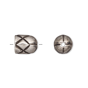 cord end, antique silver-plated pewter (tin-based alloy), 11x9mm round tube with diamond design, 7mm inside diameter. sold individually.