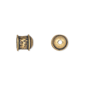 cord end, antiqued brass, 8.5x8.5mm textured, 6mm inside diameter. sold per pkg of 2.