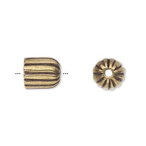 cord end, antiqued brass-plated pewter (tin-based alloy), 11x9.5mm corrugated round tube, 7mm inside diameter. sold individually.