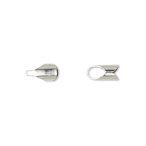 cord end, fold-over, sterling silver, 9x5mm with 4mm inside diameter. sold per pkg of 10.