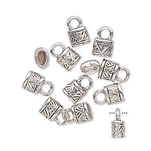 cord end, glue-in, antique silver-finished pewter (zinc-based alloy), 6x5mm tube with 4.5x2mm inside diameter. sold per pkg of 10.