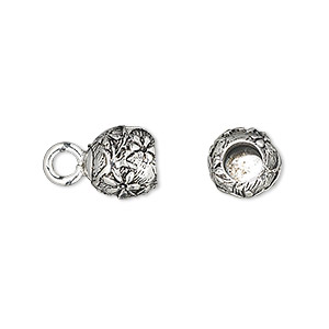 cord end, glue-in, antique silver-plated pewter (tin-based alloy), 9.5x9mm half-round with flower design, 5mm inside diameter. sold per pkg of 2.