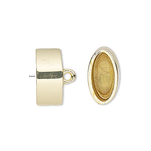 cord end, glue-in, gold-finished pewter (zinc-based alloy), 16x9mm oval, 13.5x6.5mm inside diameter. sold per pkg of 2.