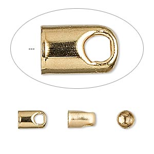 cord end, glue-in, gold-plated brass, 8x5mm with 4mm inside diameter. sold per pkg of 100.