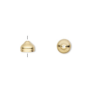 cord end, gold-plated brass, 7x5mm with 6mm inside diameter. sold per pkg of 100.