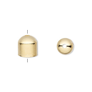 cord end, gold-plated brass, 8x8mm with 7mm inside diameter. sold per pkg of 10.