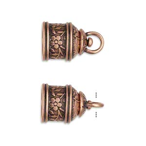 cord end, jbb findings, antique copper-plated brass, 15x12mm tube with swivel and flower and leaves design, 9.5mm inside diameter. sold per pkg of 2.