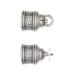 cord end, jbb findings, antique silver-plated brass, 15x12mm tube with swivel and flower and leaves design, 9.5mm inside diameter. sold per pkg of 2.