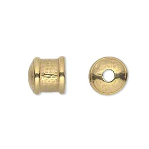 cord end, jbb findings, gold-plated pewter (tin-based alloy), 11x11mm textured round tube, 9mm inside diameter. sold per pkg of 2.