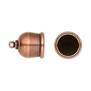 cord end, tierracast makers collection, glue-in, antique copper-plated brass, 17x12.5mm taj, 10mm inside diameter. sold per pkg of 2.