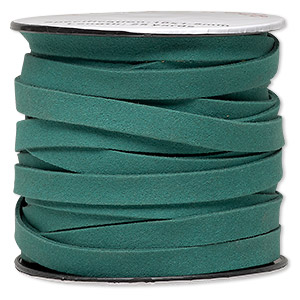 cord, faux suede, green, 10mm flat. sold per 25-yard spool.