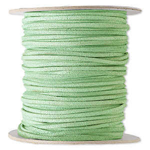cord, faux suede lace, lime green, 3mm. sold per 100-yard spool.