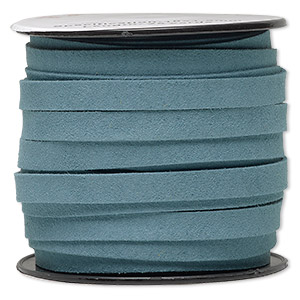 cord, faux suede, turquoise blue, 10mm flat. sold per 25-yard spool.