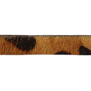 cord, hair-on leather, brown and dark brown, 10mm single-sided flat with leopard pattern. sold per pkg of 1 yard.