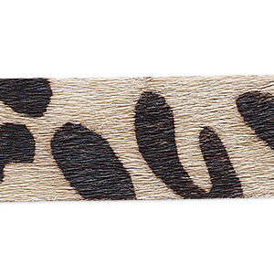 cord, hair-on leather, dark brown and tan, 20mm single-sided flat with giraffe pattern. sold per pkg of 1 yard.