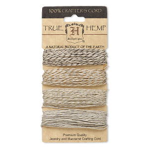 cord, hemptique, hemp and polyester, assorted colors, 1mm diameter, 20-pound test. sold per pkg of (4) 30-foot sections.