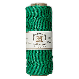 cord, hemptique, polished hemp, green, 1mm diameter, 20-pound test. sold per 205-foot spool.