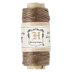 cord, hemptique, polished hemp, light brown, 0.5mm diameter, 10-pound test. sold per 100-foot spool.