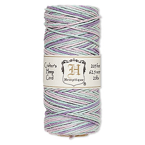 cord, hemptique, polished hemp, multicolored pastel, 1mm diameter, 20-pound test. sold per 205-foot spool.