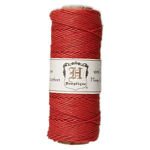 cord, hemptique, polished hemp, red, 1mm diameter, 20-pound test. sold per 205-foot spool.
