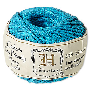 cord, hemptique, polished hemp, turquoise blue, 1mm diameter, 20-pound test. sold per 82-foot ball.