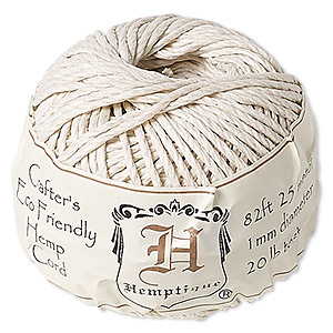 cord, hemptique, polished hemp, white, 1mm diameter, 20-pound test. sold per 82-foot ball.