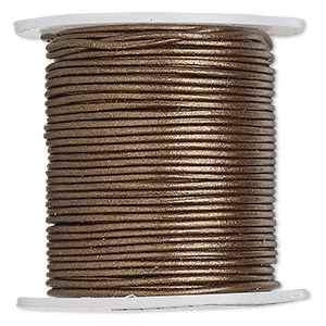 cord, leather (coated), metallic bronze, 0.5-0.8mm. sold per 25-yard spool.