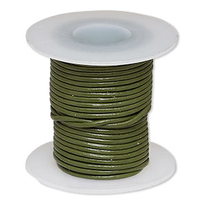 cord, leather (dyed), avocado, 1-1.2mm round. sold per 5-yard spool.