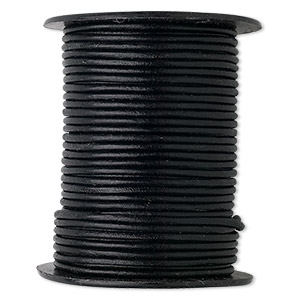 cord, leather (dyed), black, 2mm round. sold per 5-yard spool.