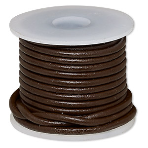 cord, leather (dyed), brown, 2mm round. sold per 5-yard spool.