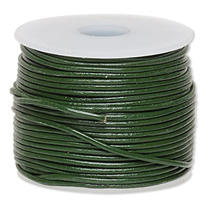 cord, leather (dyed), dark green, 0.5-0.8mm. sold per 25-yard spool.