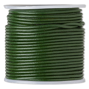 cord, leather (dyed), dark green, 1.4-1.6mm round. sold per 25-yard spool.