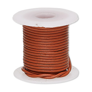 cord, leather (dyed), marigold, 1-1.2mm round. sold per 5-yard spool.