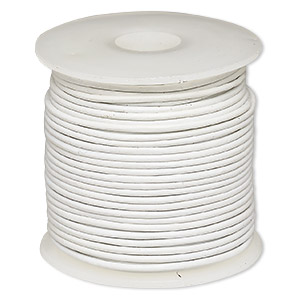 cord, leather (dyed), off-white, 1-1.2mm round. sold per 25-yard spool.