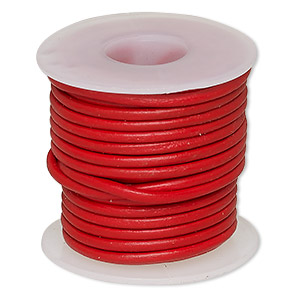 cord, leather (dyed), red, 1.4-1.6mm round. sold per 5-yard spool.