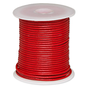 cord, leather (dyed), red, 2mm round. sold per 25-yard spool.