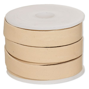 cord, leather, tan, 12mm flat. sold per 5-yard spool.