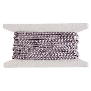 cord, nylon, grey, 3mm round. sold per 25-foot card.