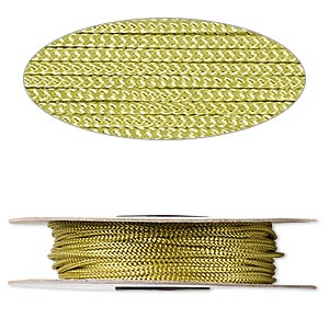 cord, nylon, lime green, 2mm round. sold per 100-foot spool.