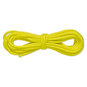 cord, nylon parachute, neon yellow, 4mm round, 550-pound test. sold per pkg of 16 feet.