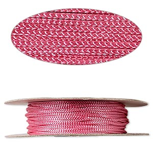 cord, nylon, pink, 2mm round. sold per 100-foot spool.