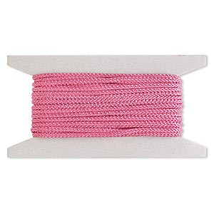 cord, nylon, pink, 3mm round. sold per 25-foot card.
