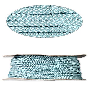 cord, nylon, turquoise blue, 3mm round. sold per 100-foot spool.