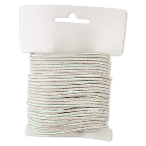 cord, polyester and elastic, rainbow white with glitter, 1.5mm diameter. sold per 10-yard card.