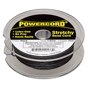 cord, powercord, elastic, black, 1mm, 14-pound test. sold per 25-meter spool.