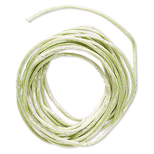 cord, satinique™, nylon and polyester, lime green / green / pink, 2mm regular with vertical stripe. sold per 10-foot section.