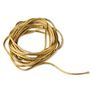 cord, satinique™, satin, antique gold, 1.5mm small. sold per pkg of 10 feet.